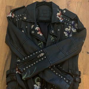 BLK denim black leather embellished moto jkt